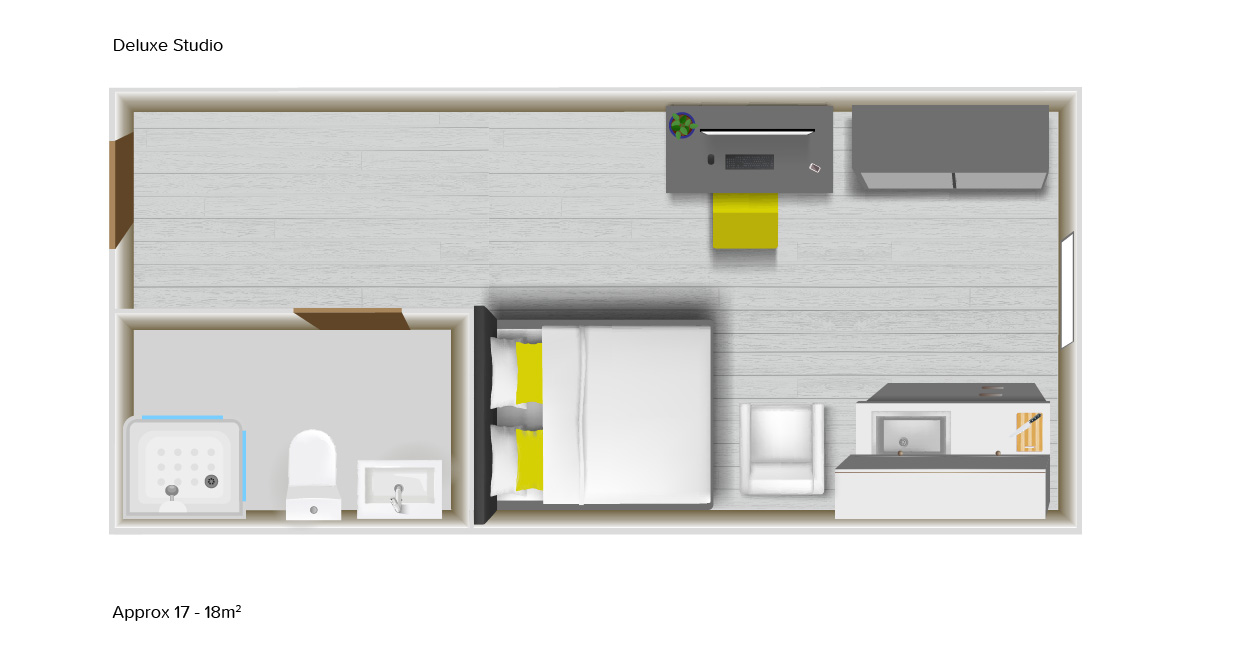 Deluxe Studio floorplans