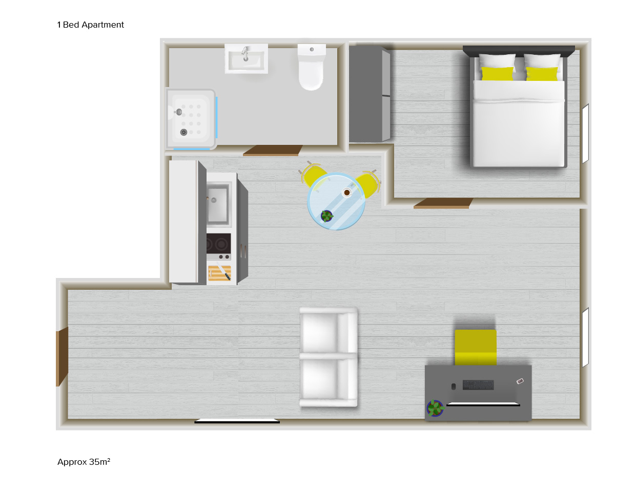 1 Bed Apartment floorplans