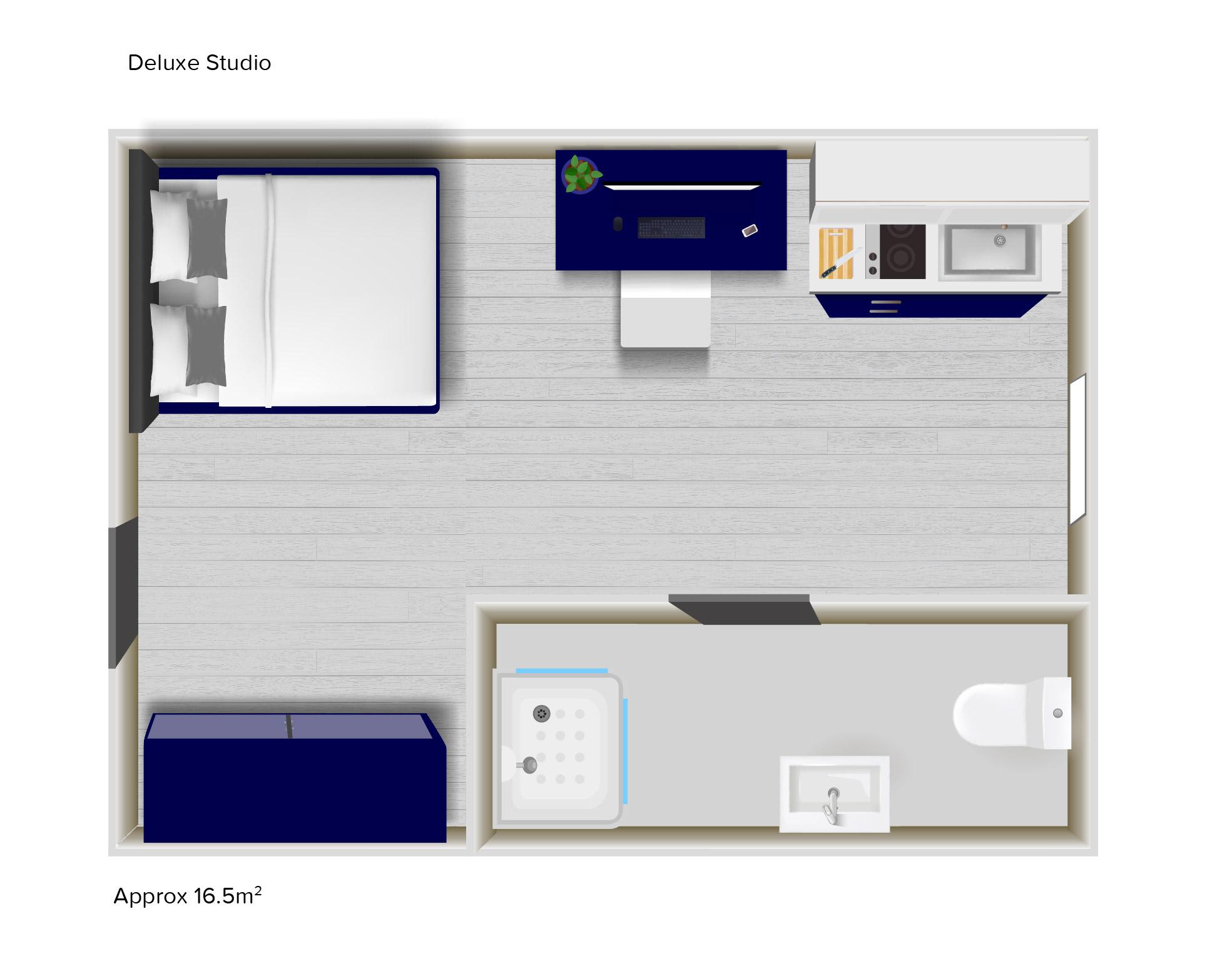 Deluxe Studio floorplans