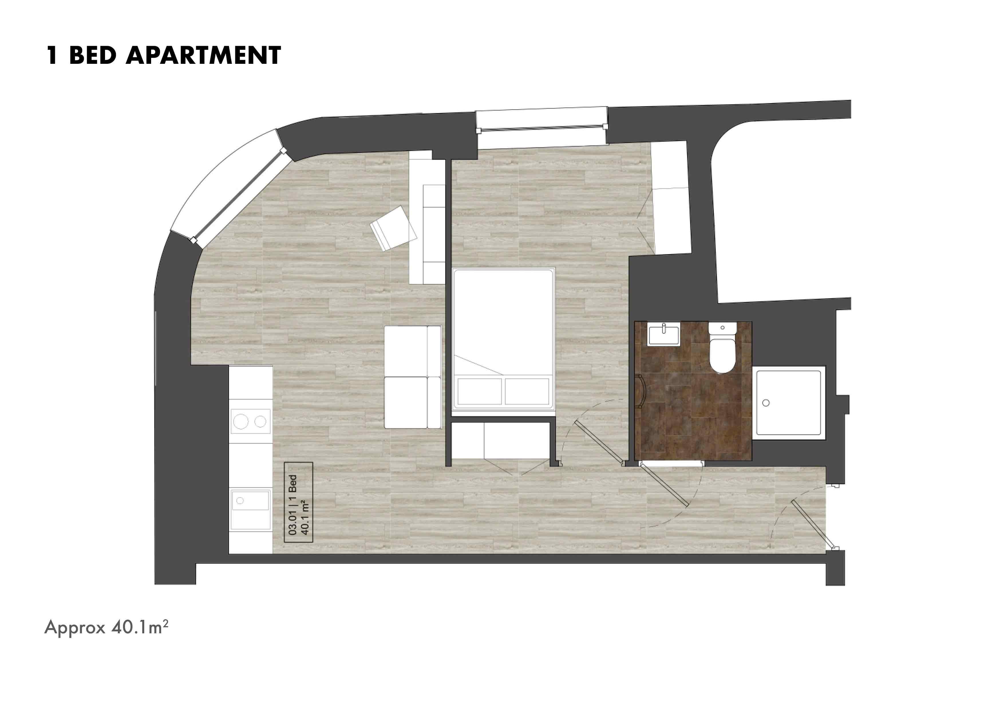 1 Bed Apartment floorplans