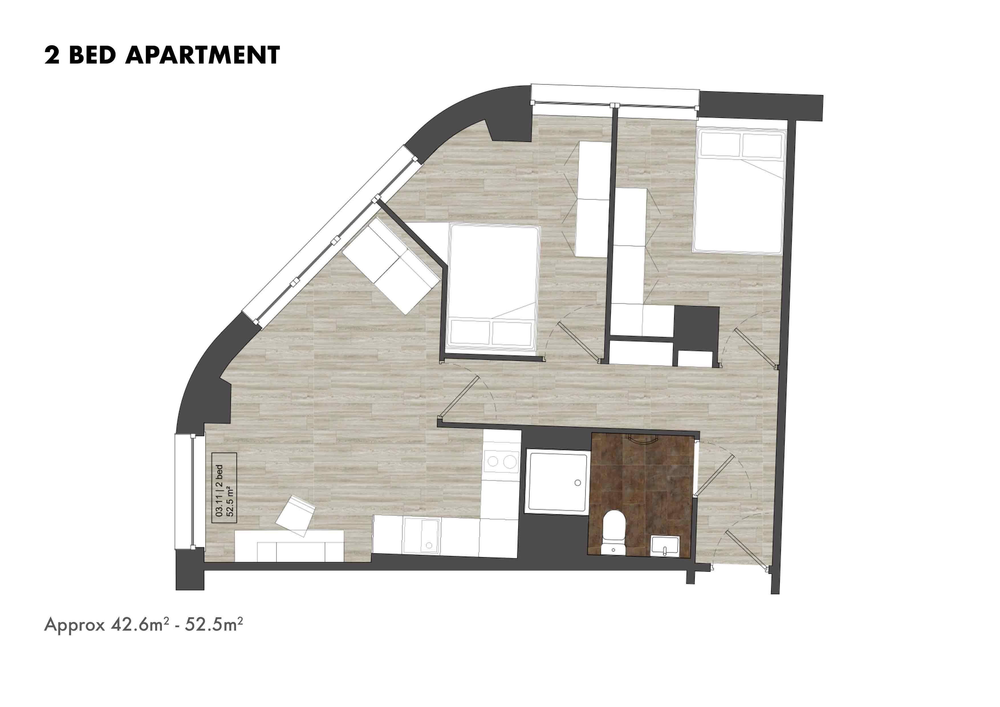 2 Bed Apartment floorplans