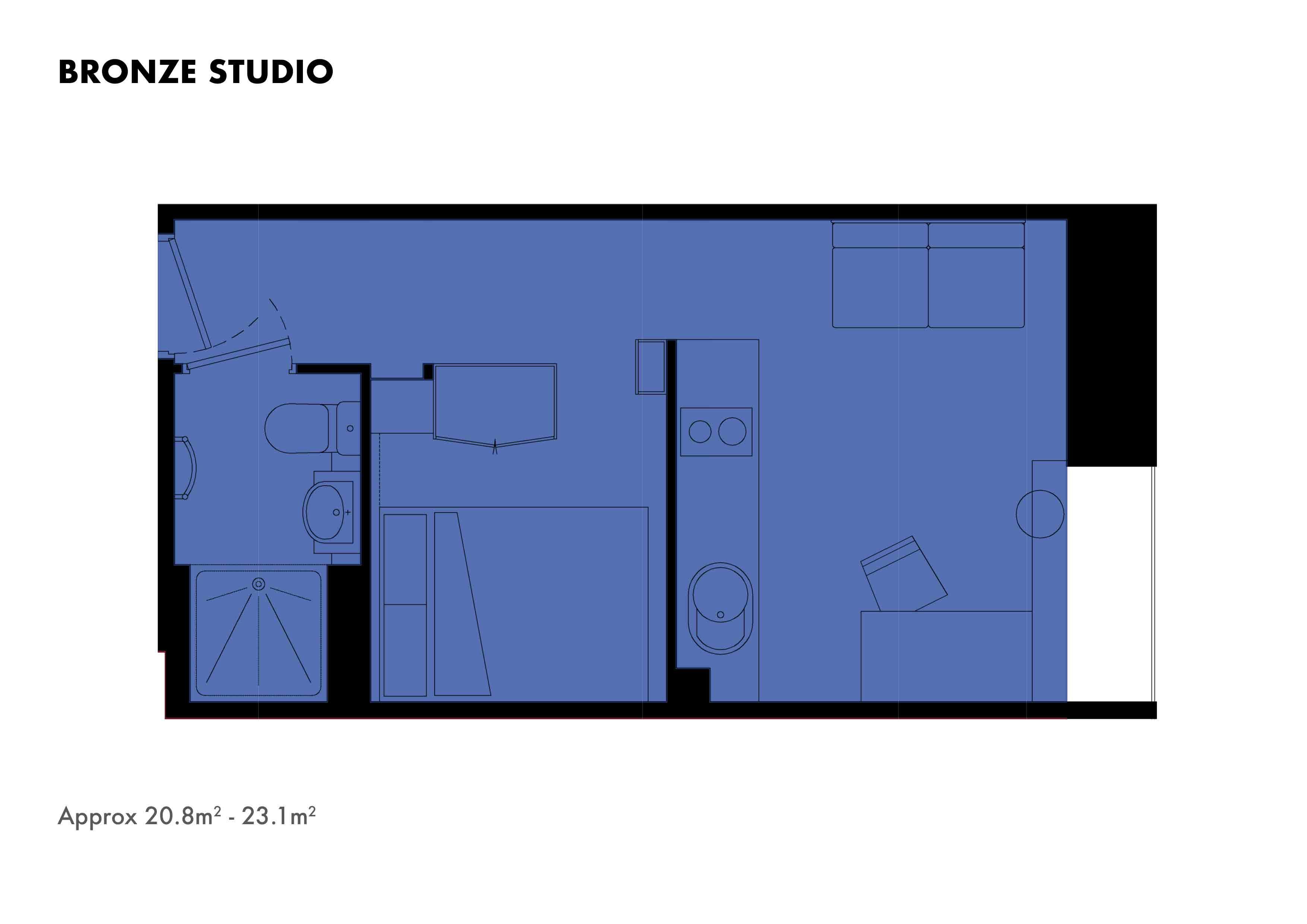 Bronze Studio floorplans