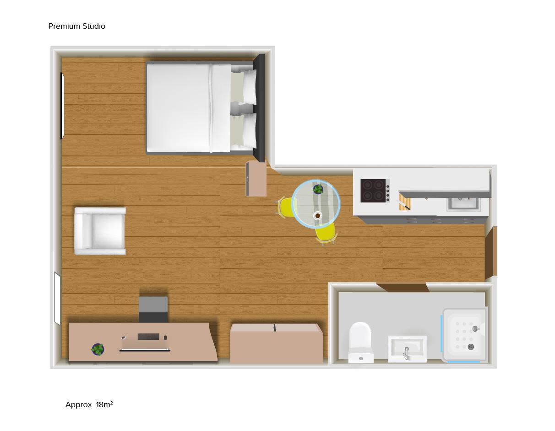 Premium Studio floorplans